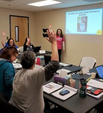 CAT's director of operations, Kristi Brooks, leads a training during the first session of Maddie's® Fostering 4 Rock Stars Apprenticeship at Cat Adoption Team.